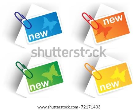 Color sale tags with pin - spring theme with butterfly - stock vector