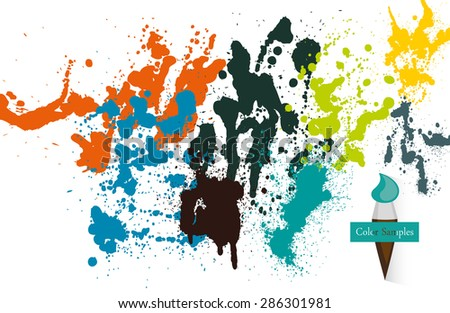 Color Sample Splashes. Vector Background - stock vector