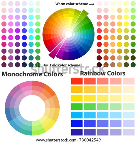 Color Scheme Warm And Cold Colors Flat Design Vector Illustration