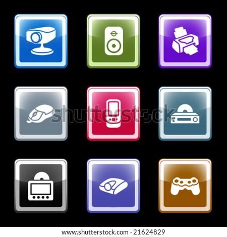 Color screen web icons, set 21 - stock vector