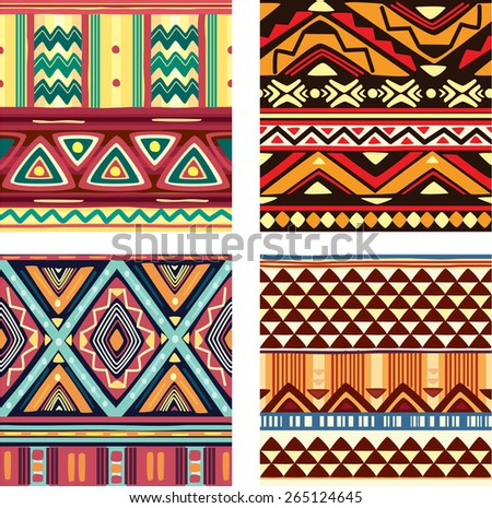 Color seamless tribal texture - stock vector