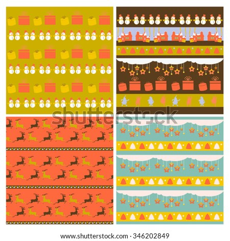 color set of childish seamless xmas patterns  - stock vector