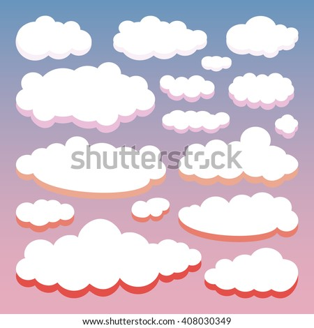 Color set of clouds isolated on sunset sky background. Japan sunrise sky. Collection of cloud icon, shape, label, symbol for your design. Vector illustration - stock vector