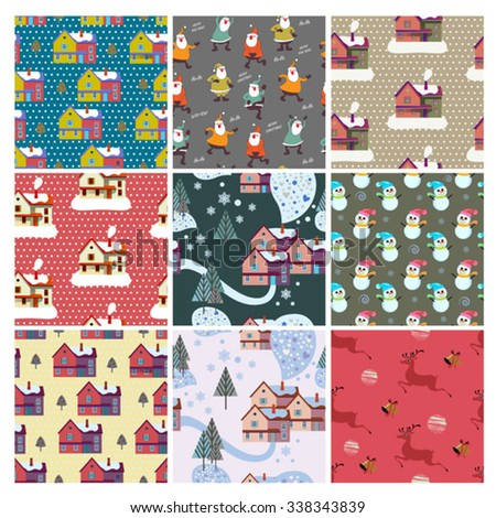 color set of cute xmas winter patterns   - stock vector