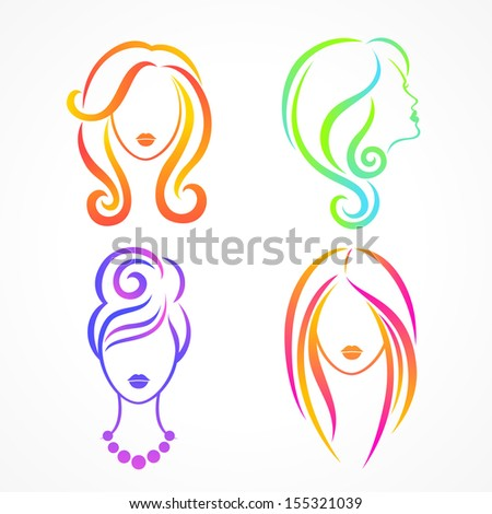 Color set of female heads with beautiful hair - stock vector