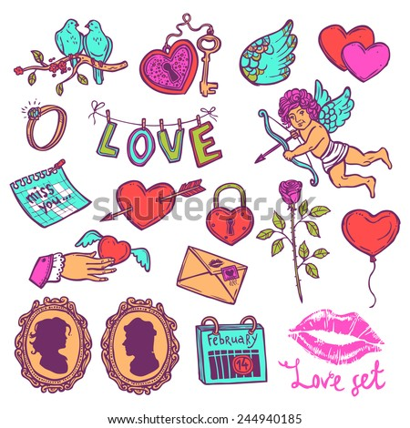 color set of love elements in sketch style for Valentin's day, heart with key, Cupid, heart with Cupid's arrow, rose, doves, love letter, wedding ring - stock vector