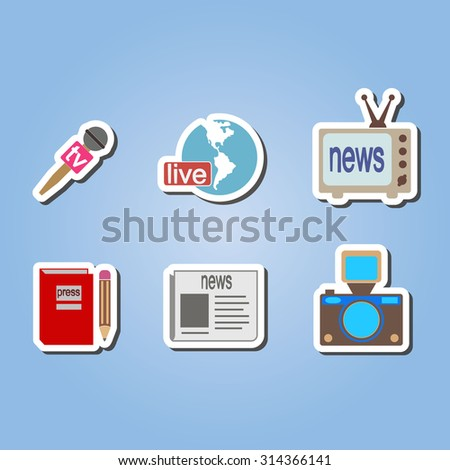 color  set with journalism icons for your design - stock vector