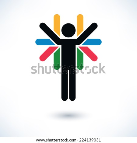 Color sign people (man's figure) with many hands in flat style. Simple silhouette with gray shadow isolated on white background. Graphic design elements in vector illustration 8 eps - stock vector