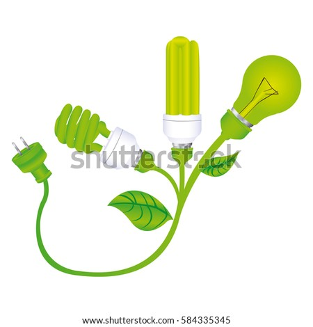 color silhouette with lamps with leaves and plug vector illustration