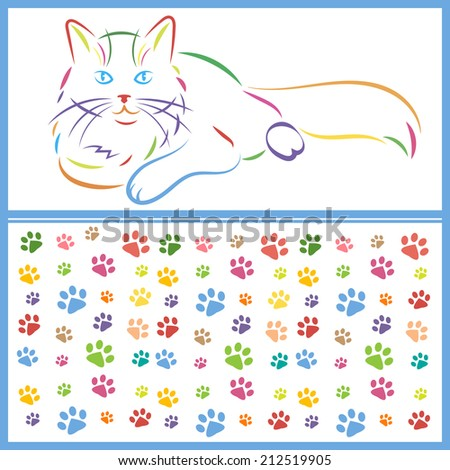 color sketch of a cat and paws - stock vector