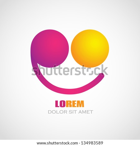 Color smile logo. Creative concept. Corporate icon. - stock vector