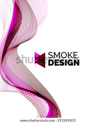 Color smoke wave on white - design element. Business card, presentation or abstract background with your message - stock vector