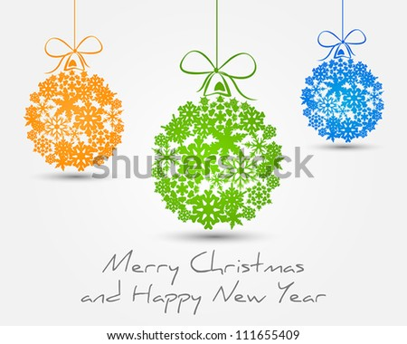 color snow balls - stock vector