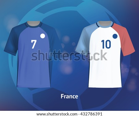 Color soccer T-shirts of France. Football team equipment - stock vector