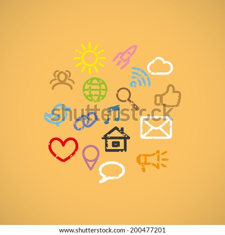 color social media icons set. vector eps10