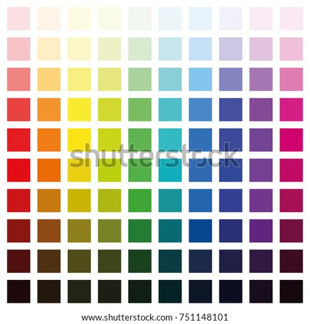 Color Spectrum Chart With Hundred Different Colors In Various Saturation From Light To Dark