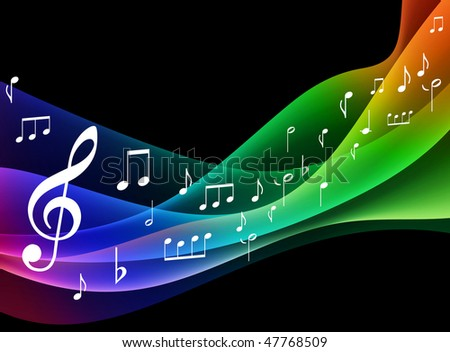 Color Spectrum wave with Musical Notes Original Vector Illustration - stock vector