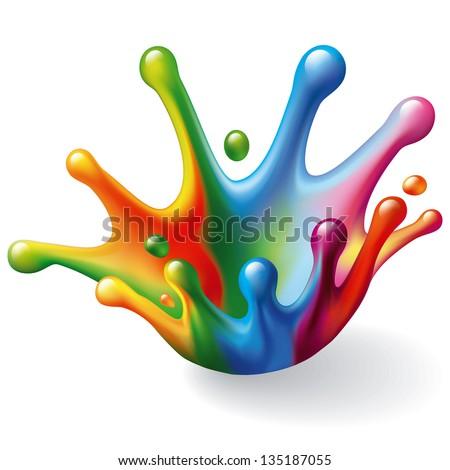 Color Splash on White Background. Vector Illustration - stock vector