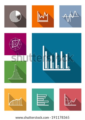Color square flat icons with shadow for various types of diagrams as vertical and horizontal bars, pie and line chart, isolated on white background - stock vector