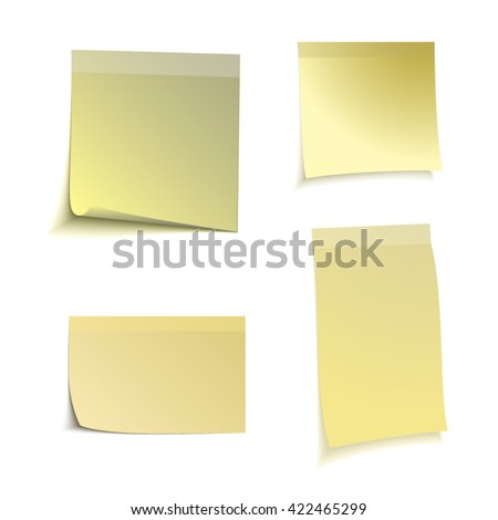 Color stick note on white background, vector illustration