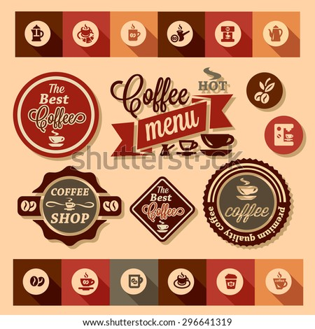 Color stickers of coffee design, vector set. - stock vector