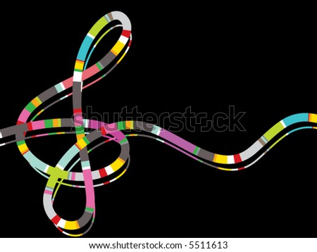 color stripe music note on black (vector) - stock vector