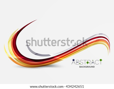 Color stripes with shiny light effects, wave line abstract background - color curve lines in motion concept and with light and shadow effects. Presentation banner and business card message design - stock vector