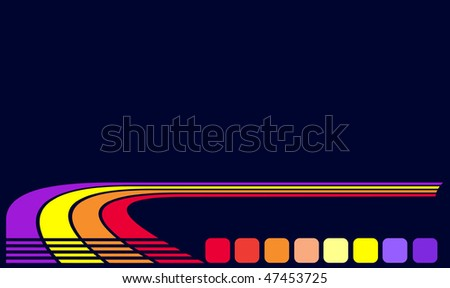 Color strips and squares on a black background