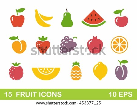 Color stylized fruit icons. Vector illustration
