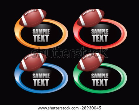 color swoosh football  icon - stock vector