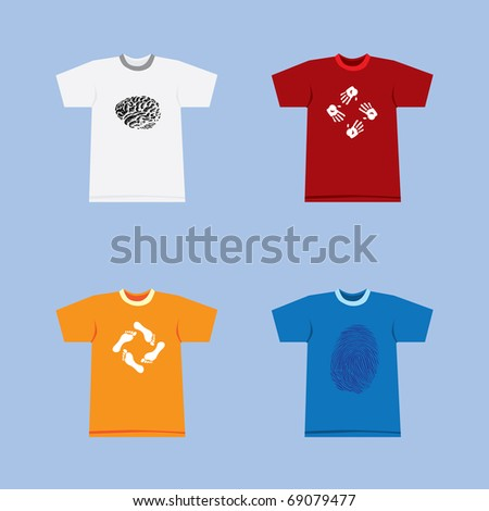 Color t-shirts with symbols on blue background illustration - stock vector
