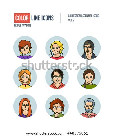 Color thin Line icons for Business avatars set. Logo and pictograms for websites, banners, infographic illustrations. Icons set for profile page, social network, professional human occupation.