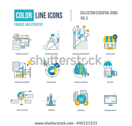 Color thin Line icons set. Logo and pictograms for websites, banners, infographic illustrations. Project management, business development, strategy, social media, creative process, delivery, shopping - stock vector