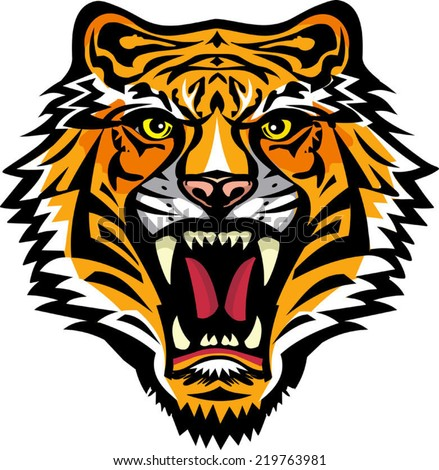 Color Tiger tattoo. Vector illustration of a tiger head. Tiger anger.  - stock vector