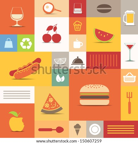 Color tiles with food icons collection - stock vector