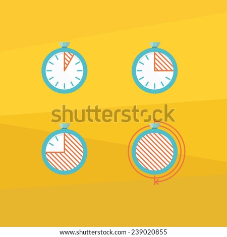 Color timer icons - stock vector