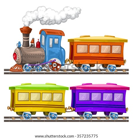 Color trains, wagons and rails - stock vector
