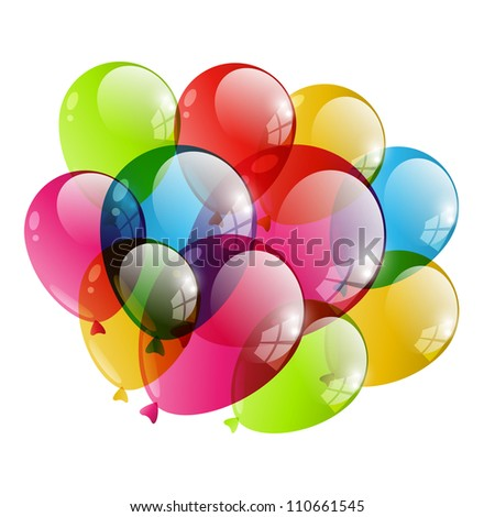 Color transparent balloon - stock vector