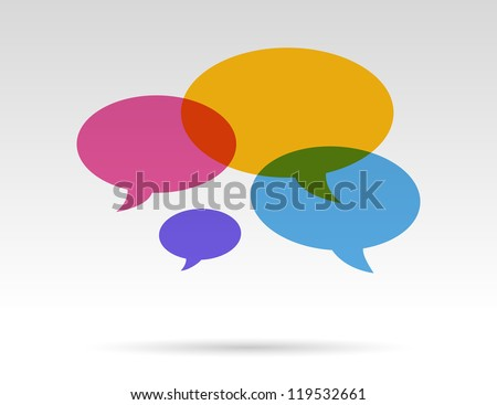 color transparent speech bubbles in conversation