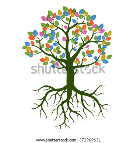 Color Tree nd Roots. Vector Illustration. - stock vector