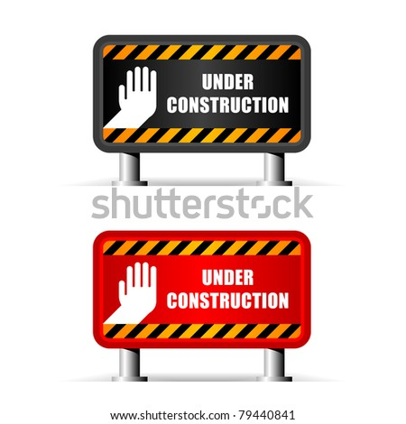 color under construction sign isolated on white