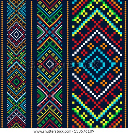 Color variants ethnic ornament - stock vector