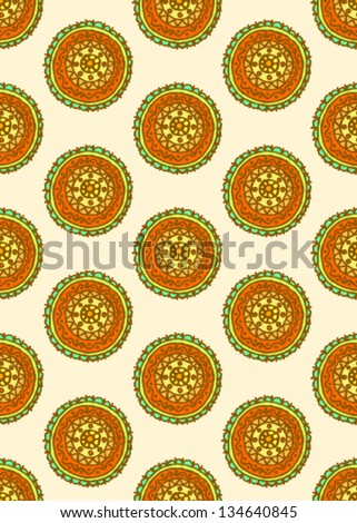 Color vector background, seamless pattern with circles - stock vector
