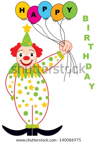 color vector birthday card design with funny clown and balls isolated on white background