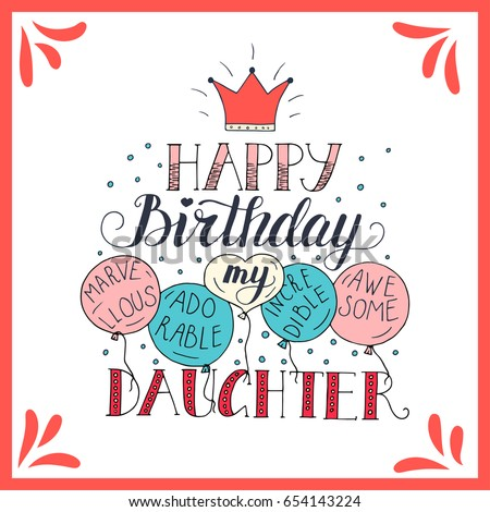 Color Vector Birthday Card Daughter Unique Vector 654143224 – Happy Birthday Cards to My Daughter
