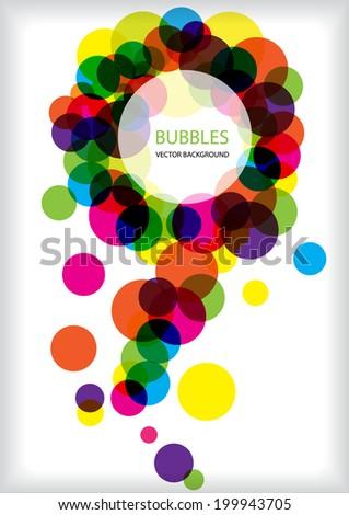 color vector bright circles frame - stock vector