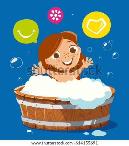 Color vector character illustration of happy smile kid washing in bath bathtub