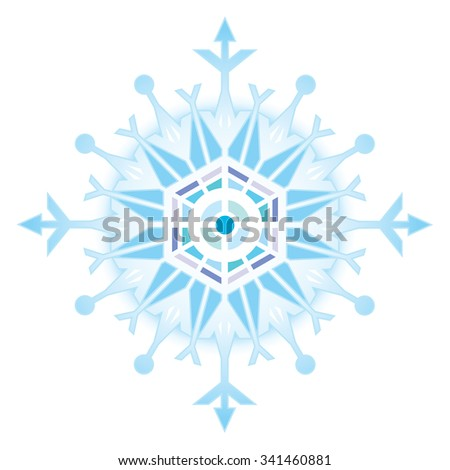 color vector drawing of a snowflake - stock vector