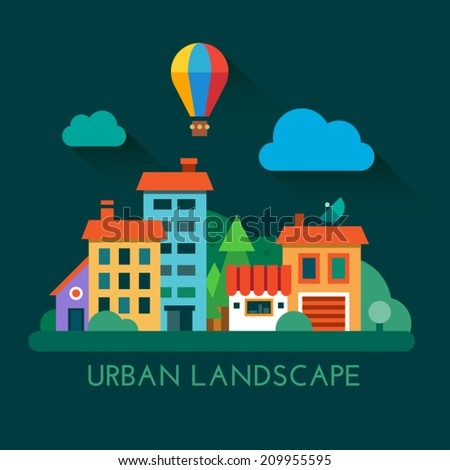 Color vector flat icon set and illustration urban landscape: town, forest, multistory houses, shop, balloon, clouds. - stock vector