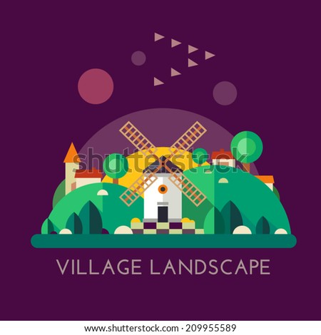 Color vector flat icon set and illustration village landscape: mill, hills, houses, trees, sunset, harmony, nature.